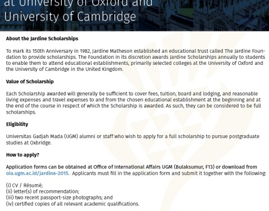 Jardine Foundation Scholarship for Postgraduate Studies at University of Oxford and University of Cambridge